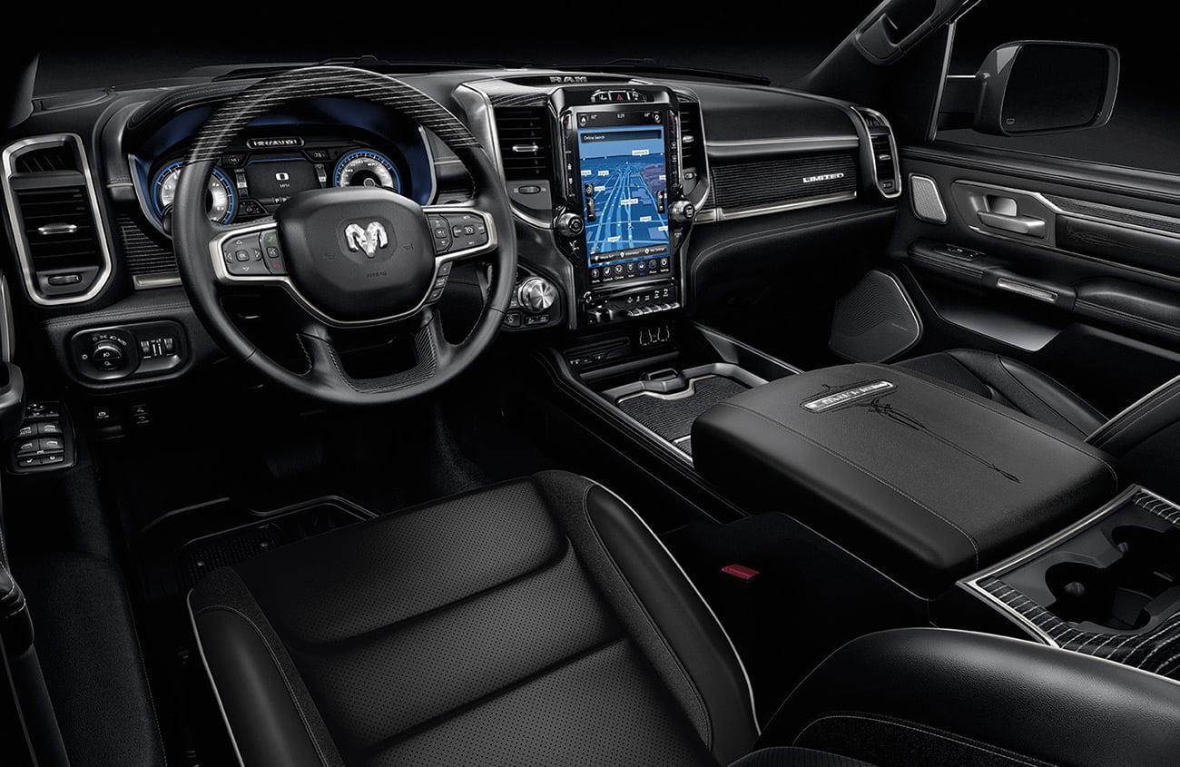 Premium interiors of Ram Limited 1500 black leather