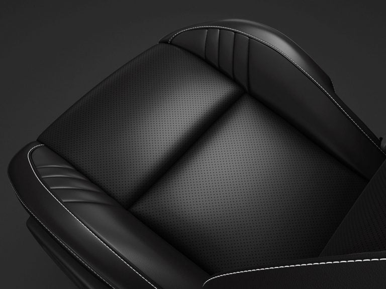 Laguna Leather with Laguna Leather Perforated Inserts in Black with Silver Accent Stitching