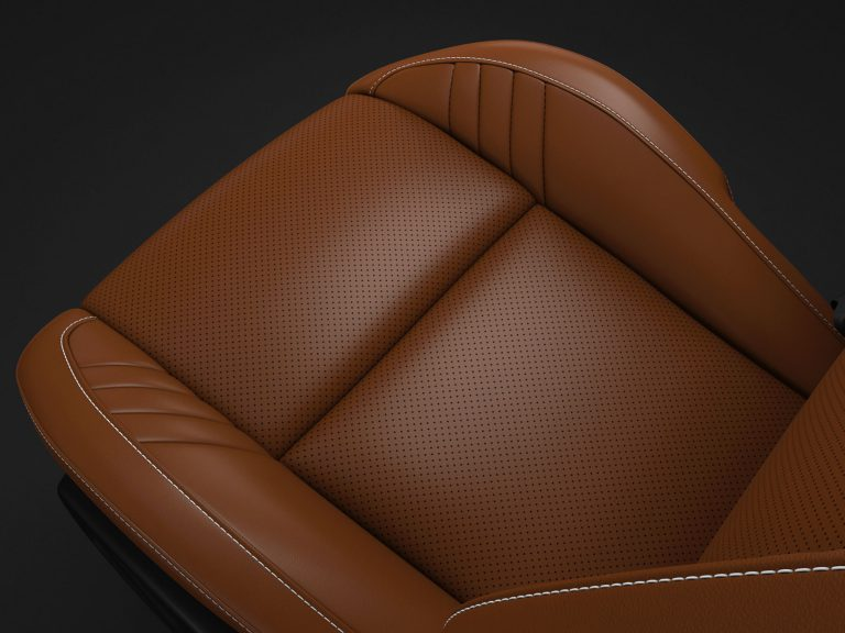 Laguna Leather with Laguna Leather Perforated Inserts in Sepia with Silver Accent Stitching