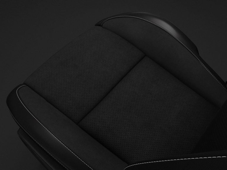 Nappa Leather-trim with Alcantara Suede Bolsters and Perforated Inserts in Black with Tungsten Accent Stitching