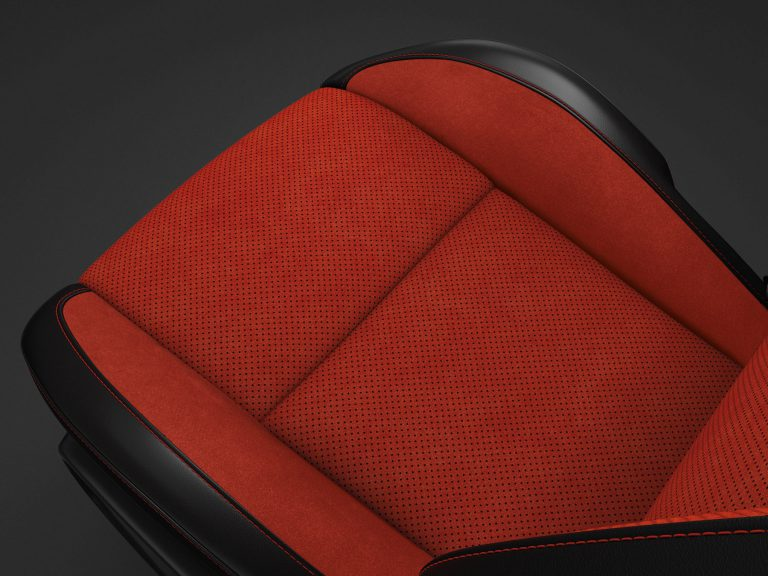 Nappa Leather-trim with Alcantara Suede Bolsters and Perforated Inserts in Black/Ruby Red with Ruby Red Accent Stitching