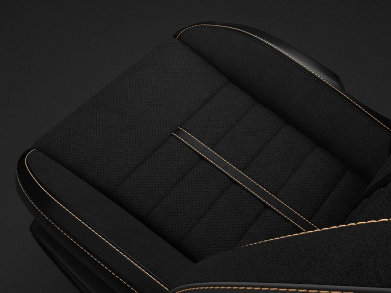 Nappa Leather-trim with Alcantara Suede Bolsters/Perforated Suede Plowthroughs in Black with Tungsten Accent Stitching