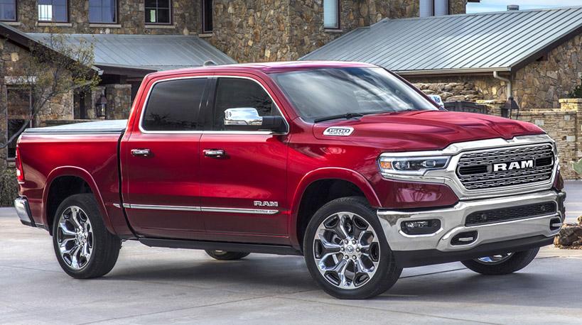 2019 red 4-door Dodge Ram 1500