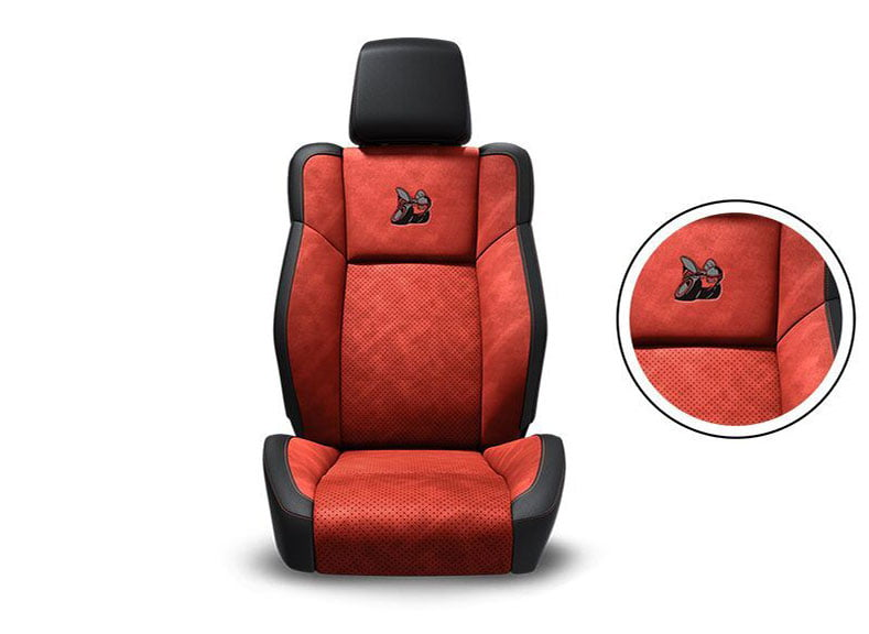 Black Nappa Leather Trim with Alcantara® Suede Bolsters, Ruby Red Alcantara Perforated Suede Inserts, Ruby Red Accent Stitching and Embroidered Bee Logo