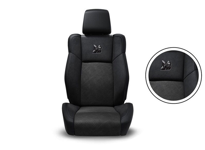 Black Nappa Leather Trim with Alcantara® Suede Bolsters, Alcantara Perforated Suede Inserts, Tungsten Accent Stitching and Embroidered Bee Logo
