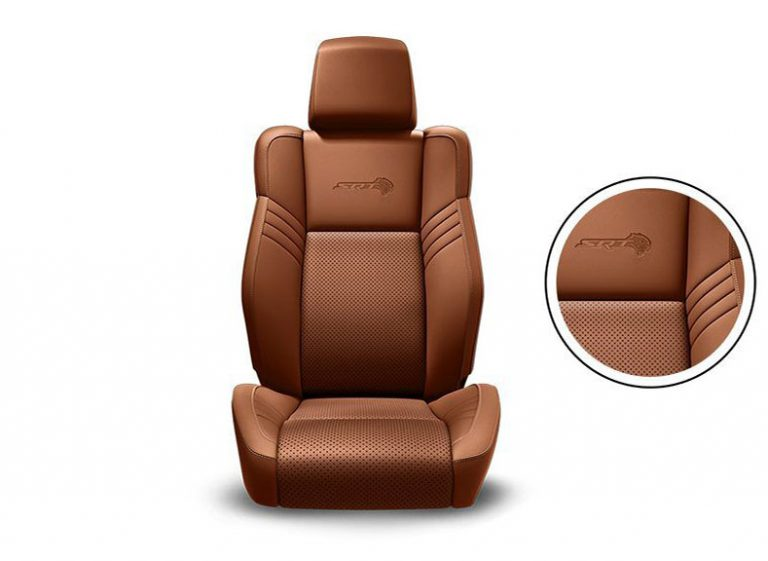 Sepia SRT® Laguna Leather Trim with Laguna Leather Perforated Inserts, Silver Accent Stitching and Embossed SRT Logo
