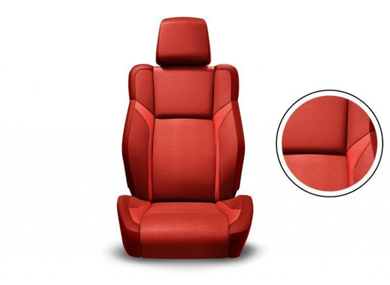 Ruby Red Nappa Leather Trim with Nappa Metallic Bolsters, Nappa Perforated Inserts and Ruby Red Accent Stitching