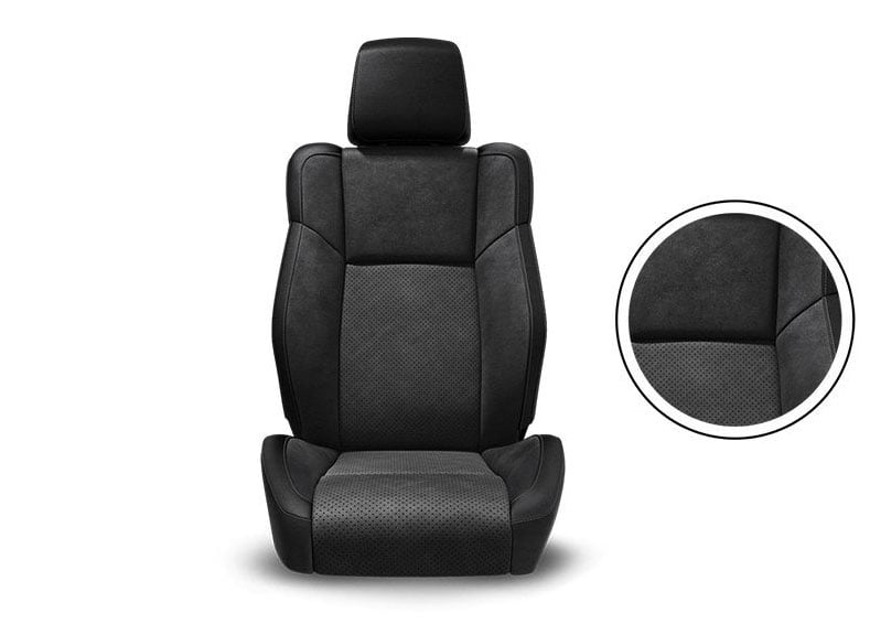 Black Nappa Leather Trim with Alcantara® Suede Bolsters, Alcantara Perforated Suede Inserts and Tungsten Accent Stitching