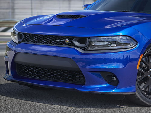 Blue Dodge Scat Pack grille