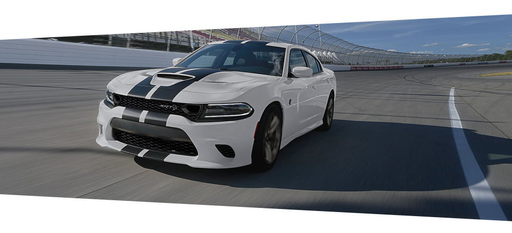 2019 Dodge Charger white and black stripes