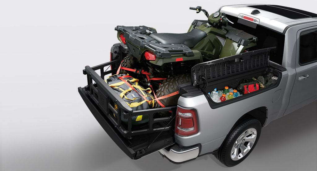 ram truck cargo loaded with motocross bike