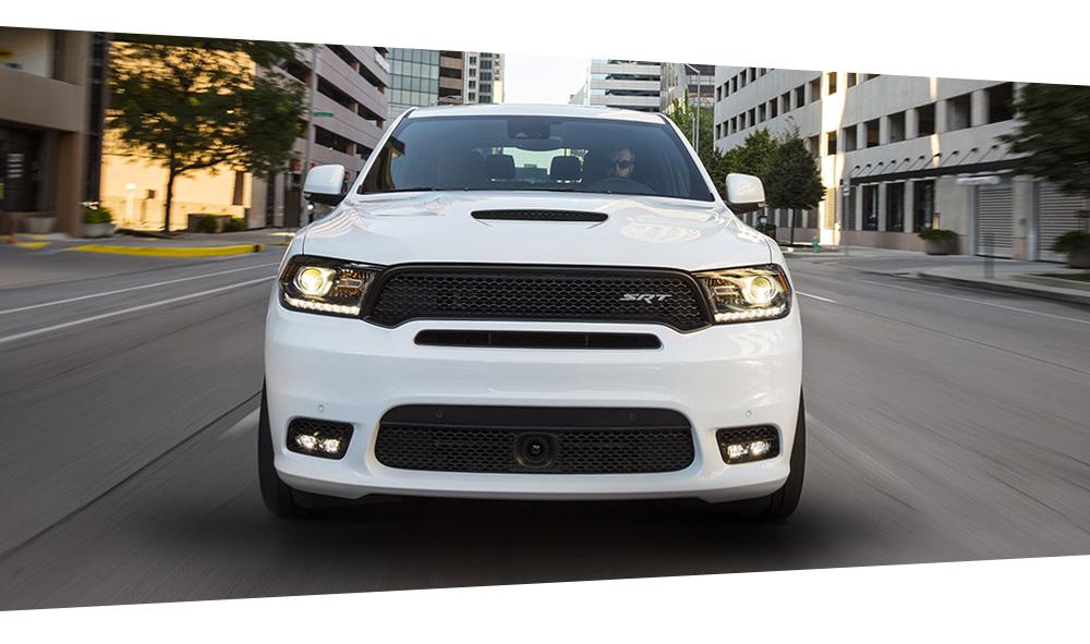 White Dodge Durango in the city