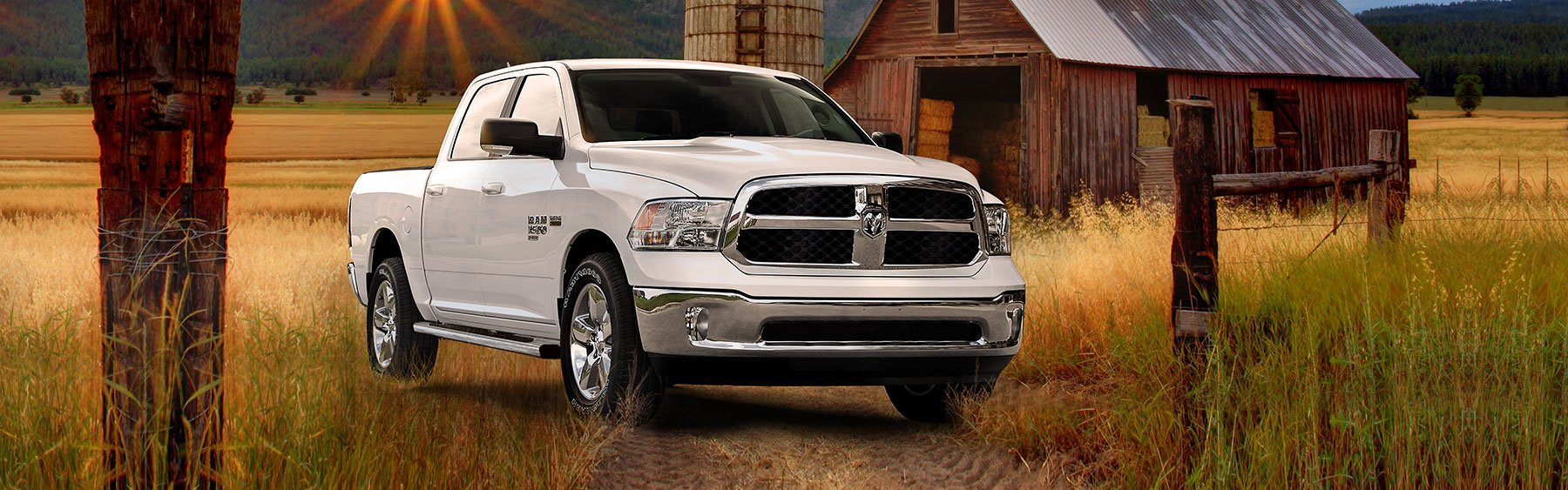 2019 dodge ram truck 1500 white on field